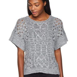 Prana Patchwork Cable Knit Short Sleeved Sweater
